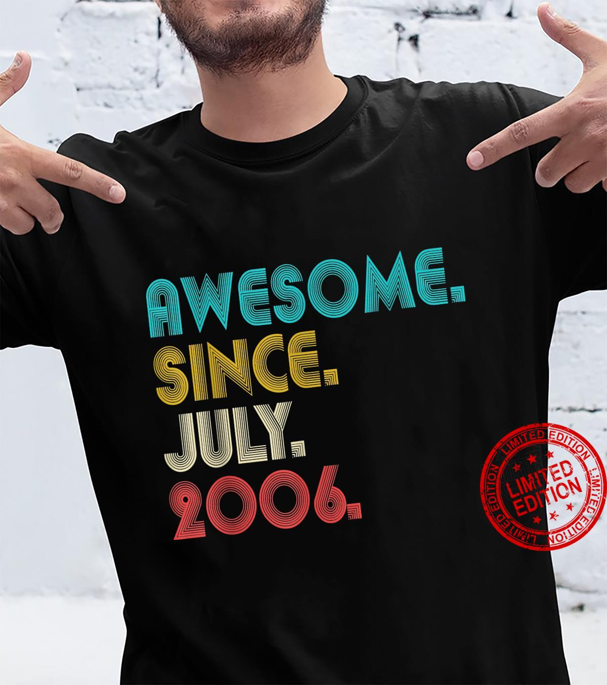 15th Birthday Awesome Since July 2006 Distressed 15 Yrs Old Shirt