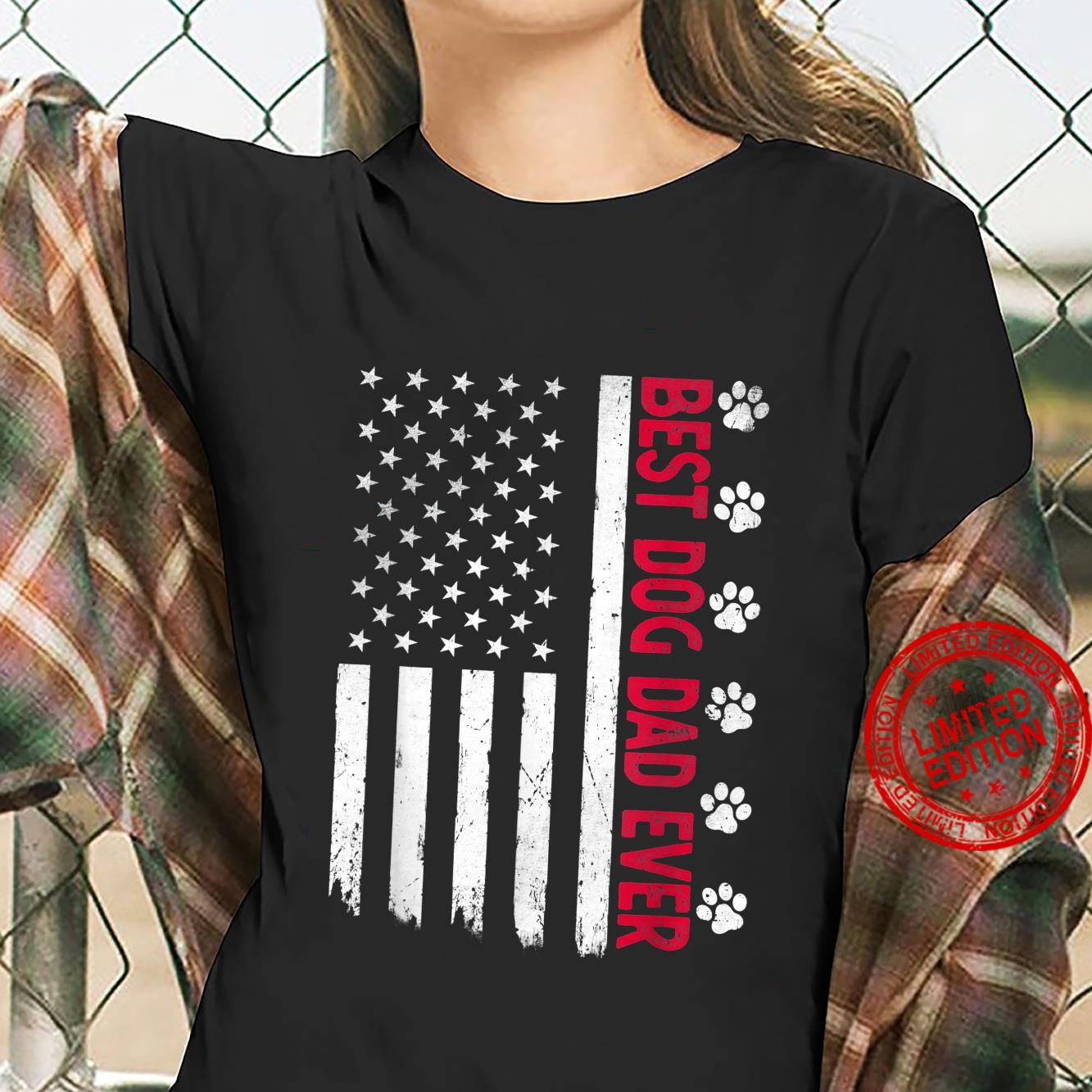 Best Dog Dad Ever American USA Flag Father's Day Dog Shirt ladies tee