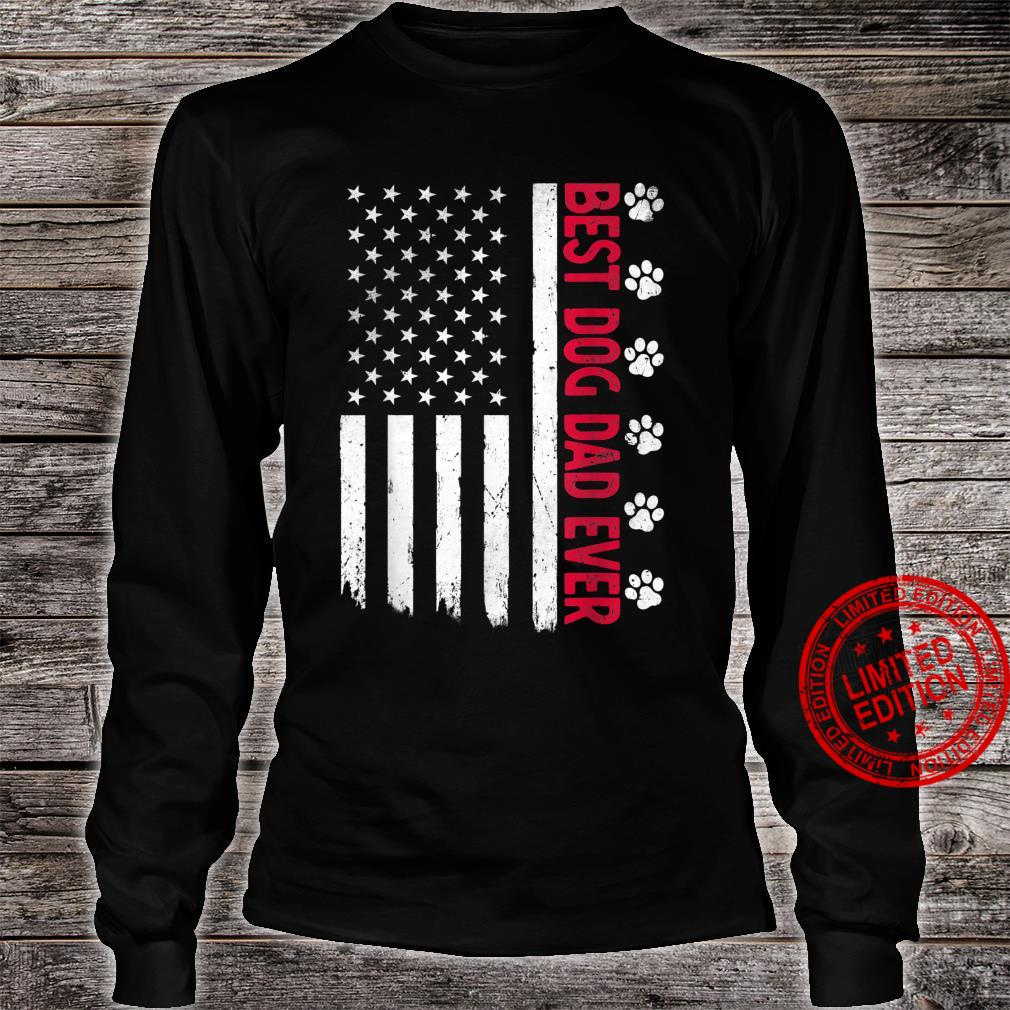 Best Dog Dad Ever American USA Flag Father's Day Dog Shirt long sleeved