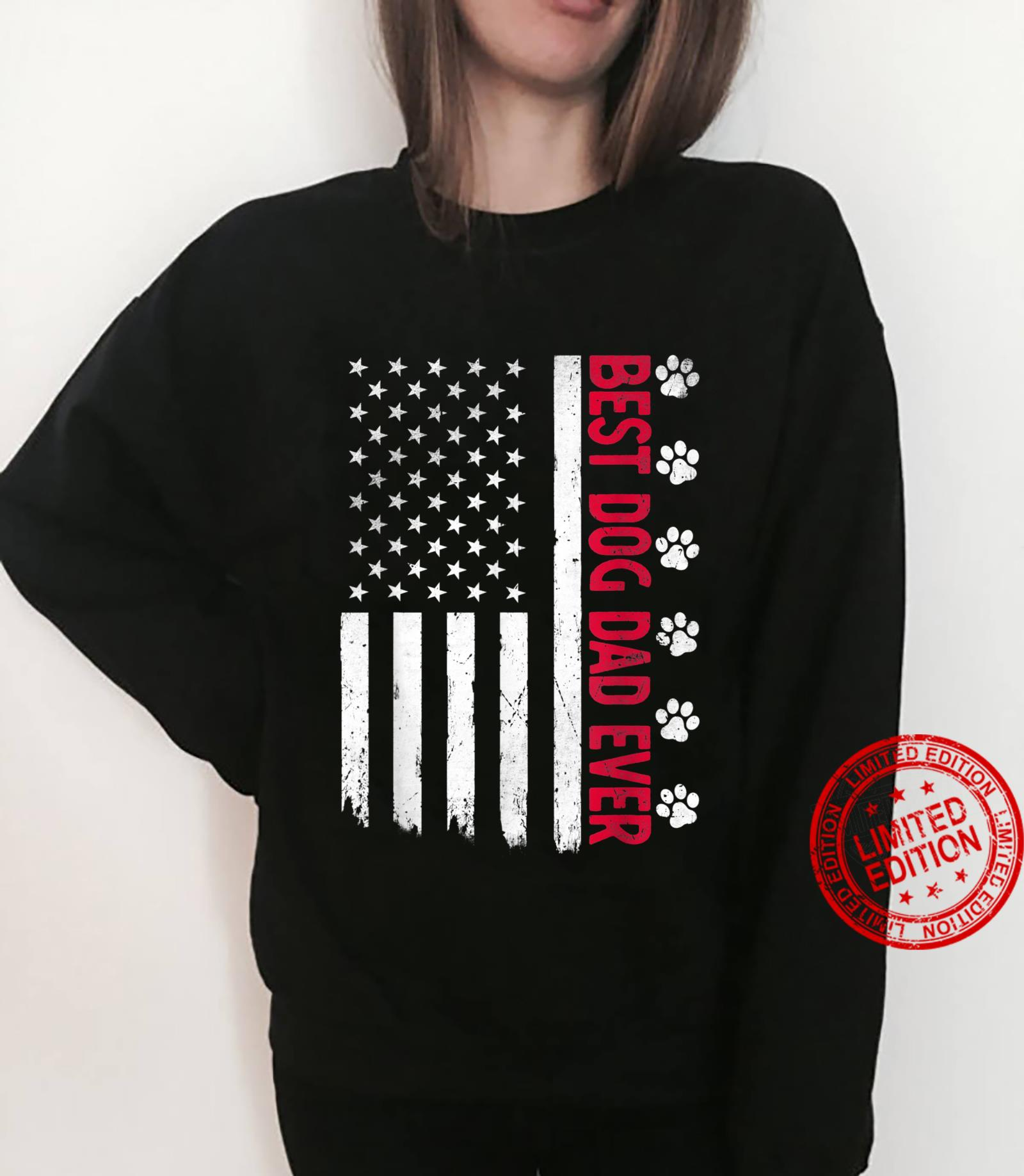 Best Dog Dad Ever American USA Flag Father's Day Dog Shirt sweater