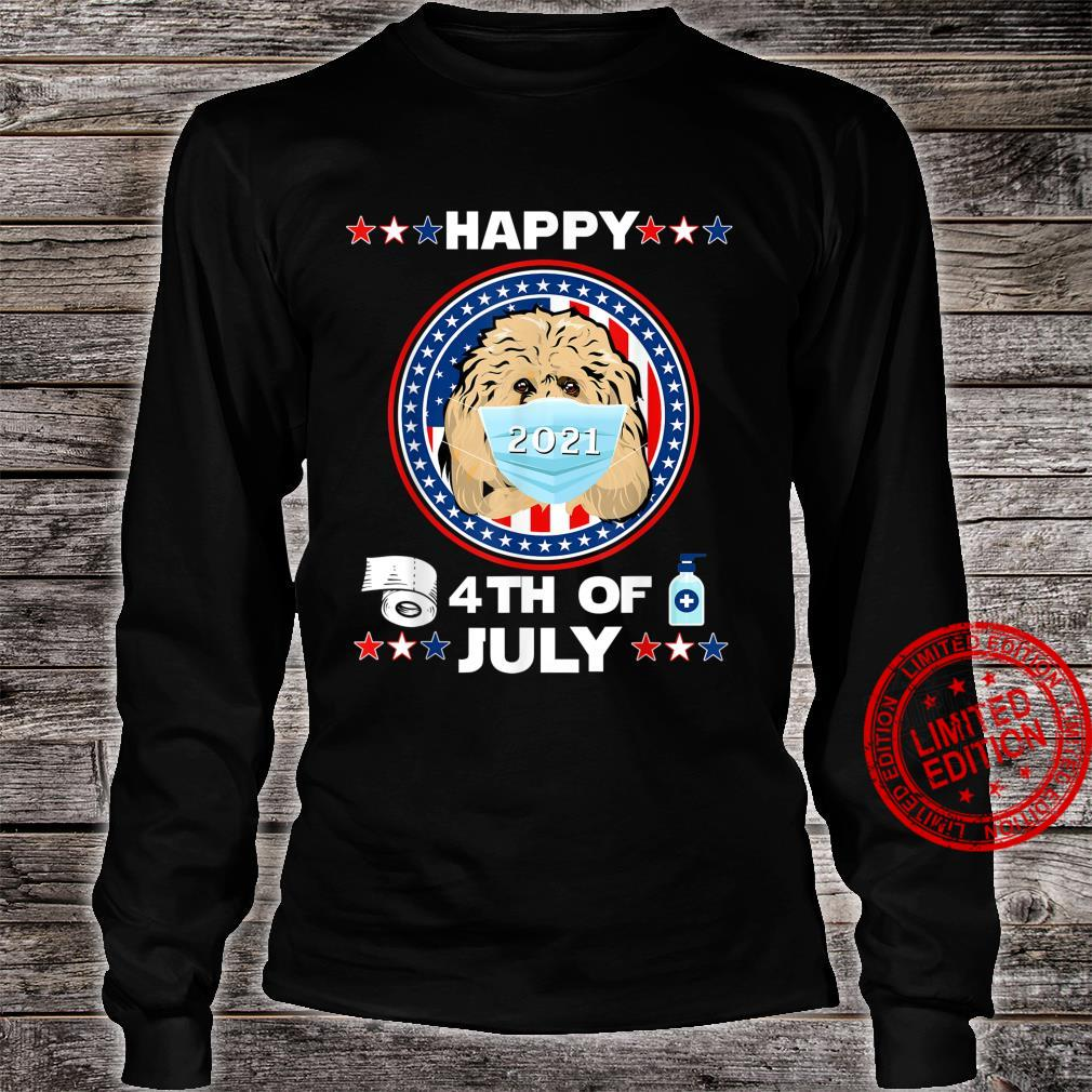 Goldendoodle Dog Patriotic In Mask Happy 4th Of July 2021 Shirt long sleeved