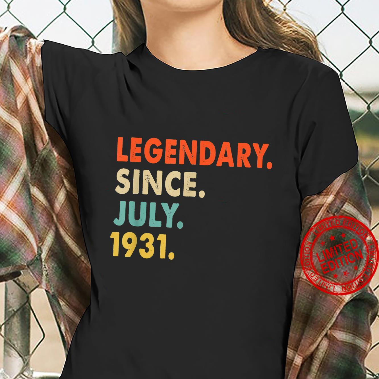 Legendary Since July 1931 90th Birthday For 90 Years Old Shirt ladies tee