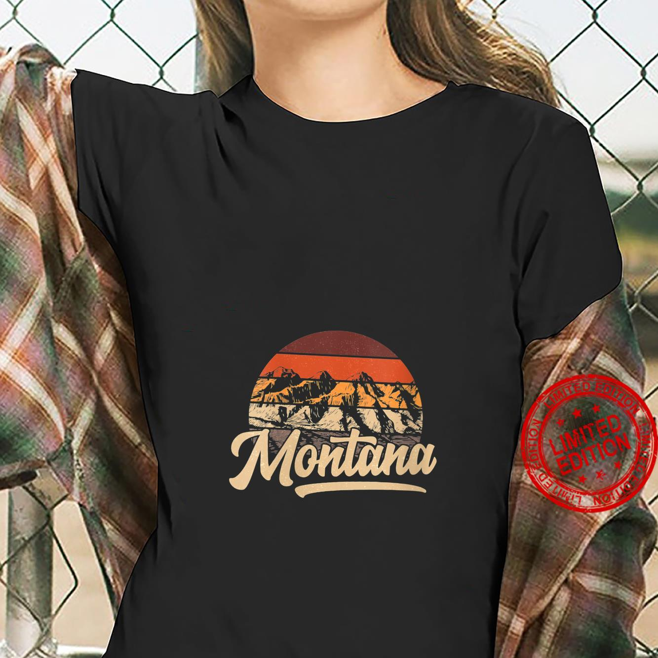 Womens State of Montana Mountain sunset casual outdoor Shirt ladies tee