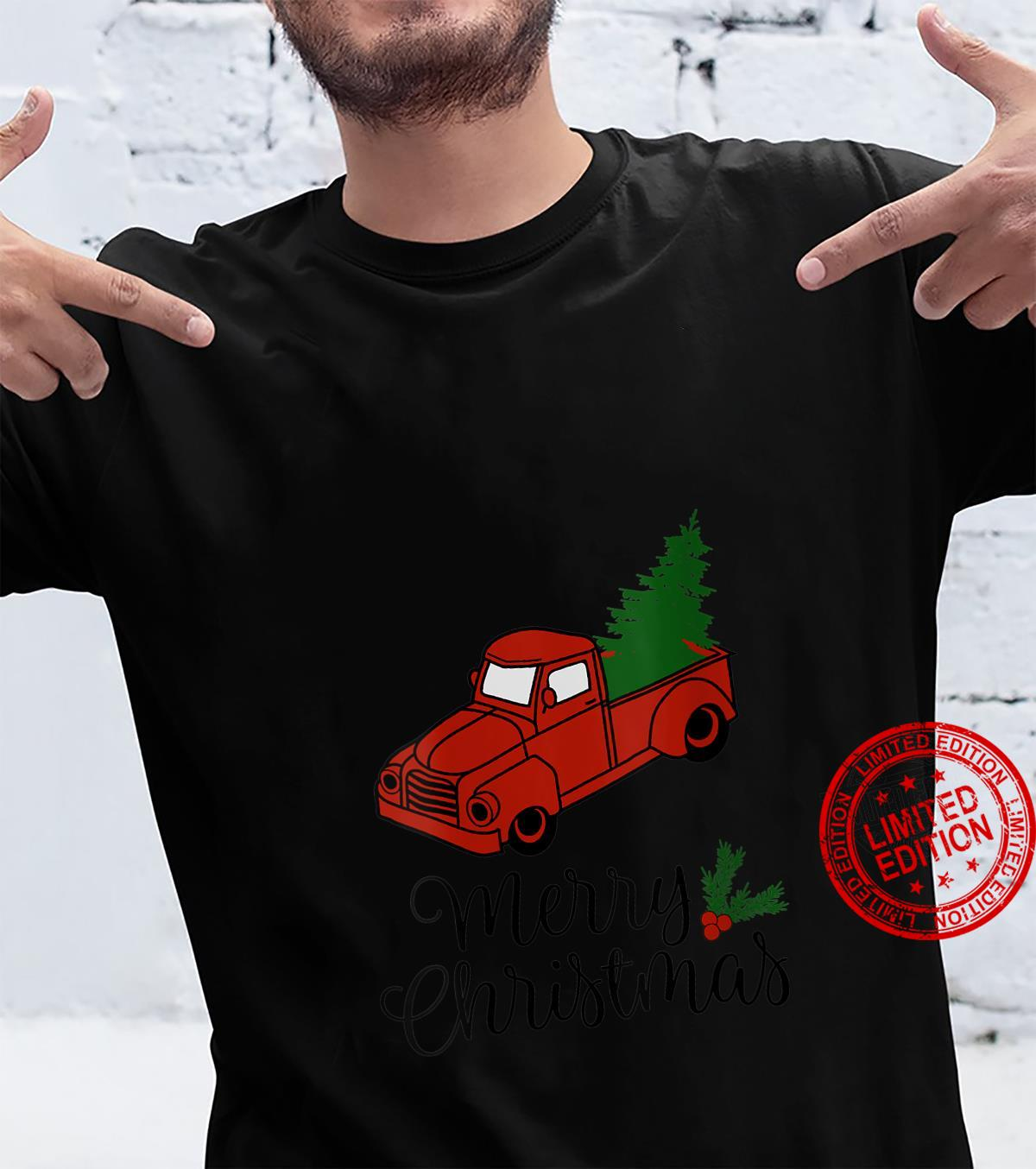 Womens Vintage Holiday Red Truck with Christmas Tree Shirt