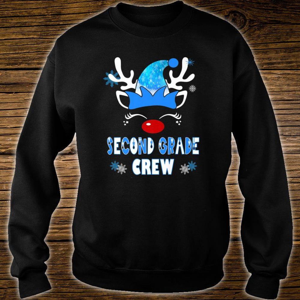 2nd Grade Christmas Teacher Students Blue Reindeer Elf Crew Shirt sweater