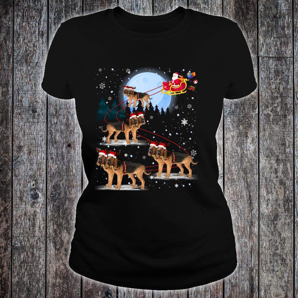 Bloodhound Reindeer Santa Under Moonlight Christmas Shirt ladies tee