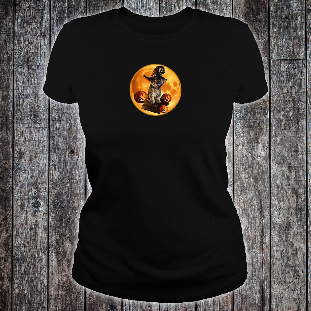 Cat with the moon halloween shirt ladies tee