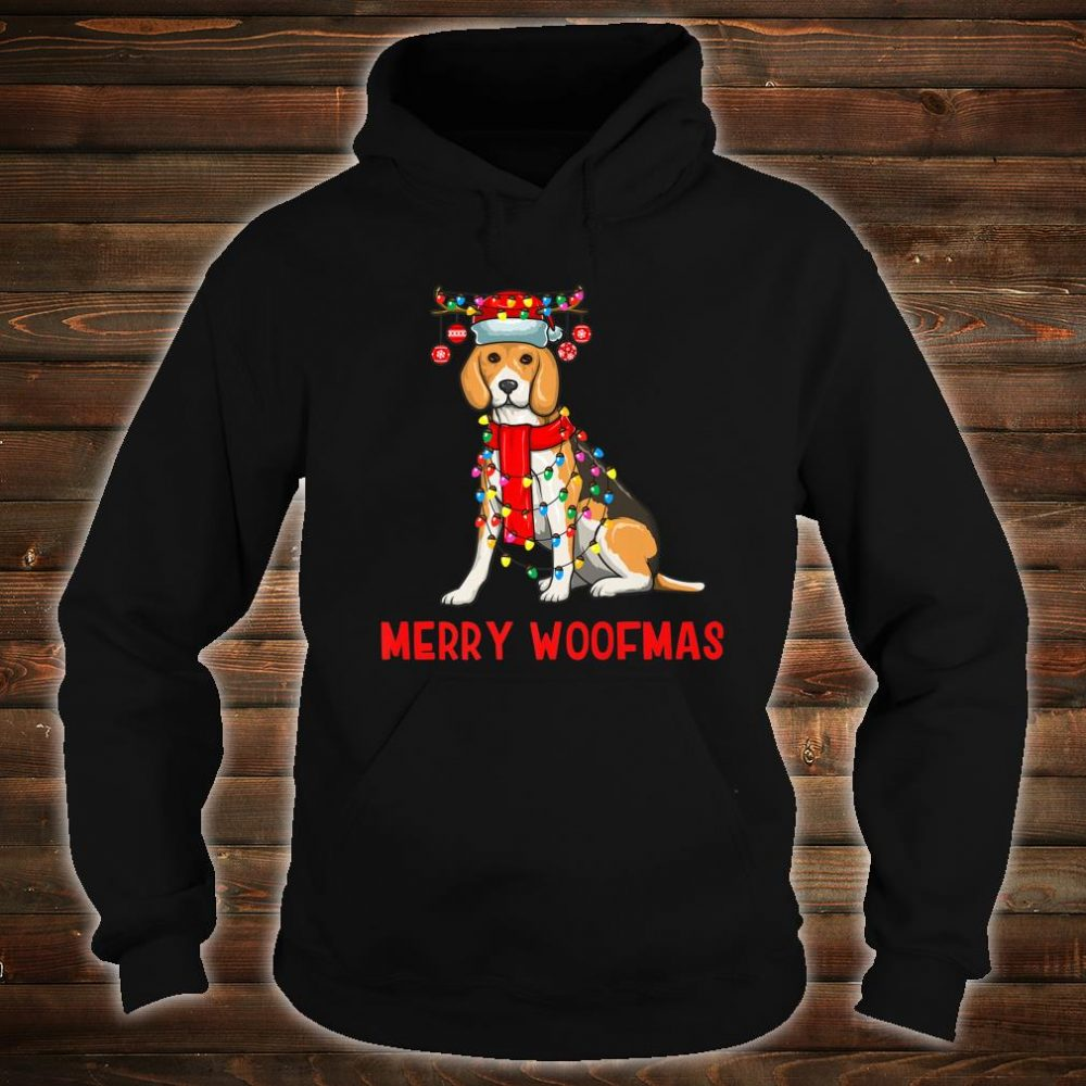 Christmas Cute Beagle Dog Holiday Lights Merry Woofmas Shirt hoodie