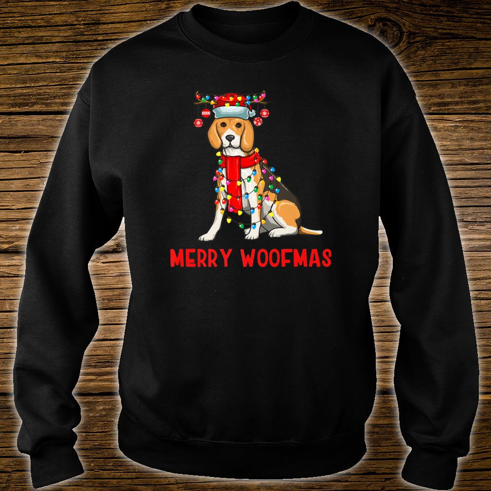 Christmas Cute Beagle Dog Holiday Lights Merry Woofmas Shirt sweater
