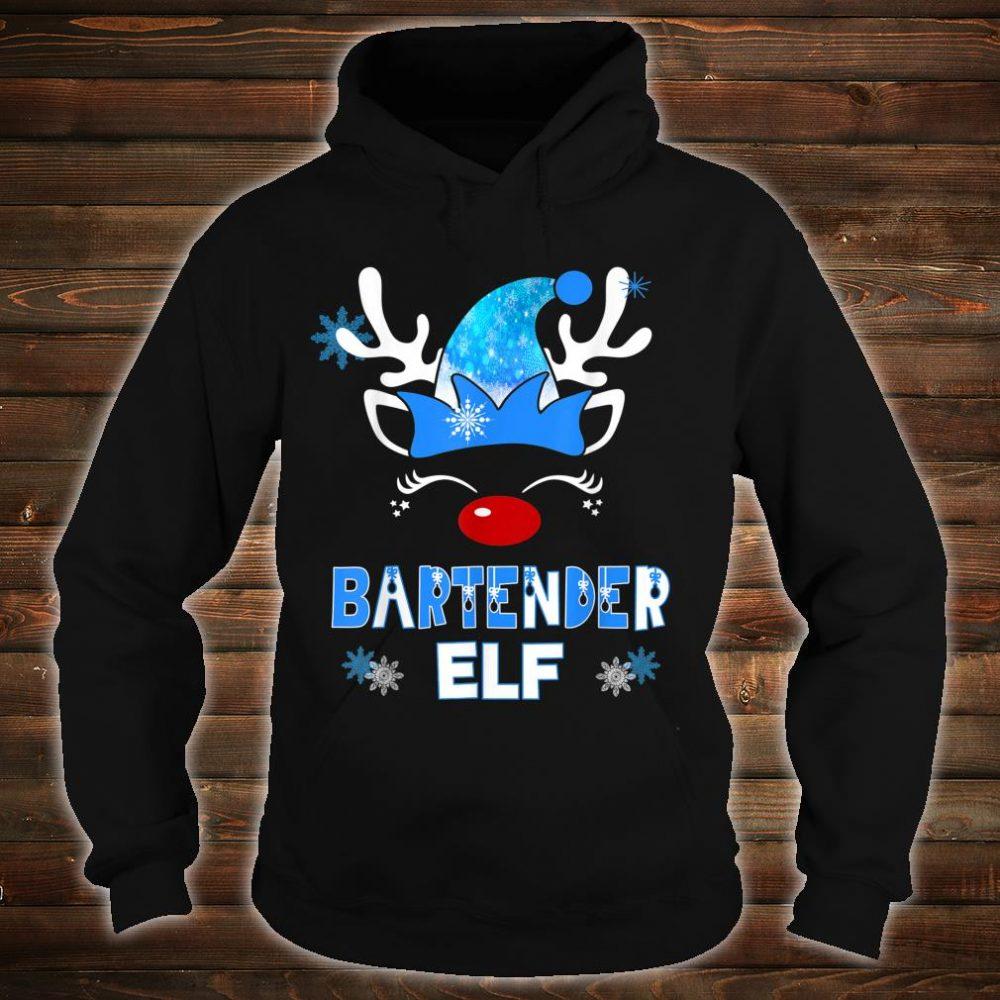 Christmas Elf Bartender Costume Holiday Blue Reindeer XMas Shirt hoodie