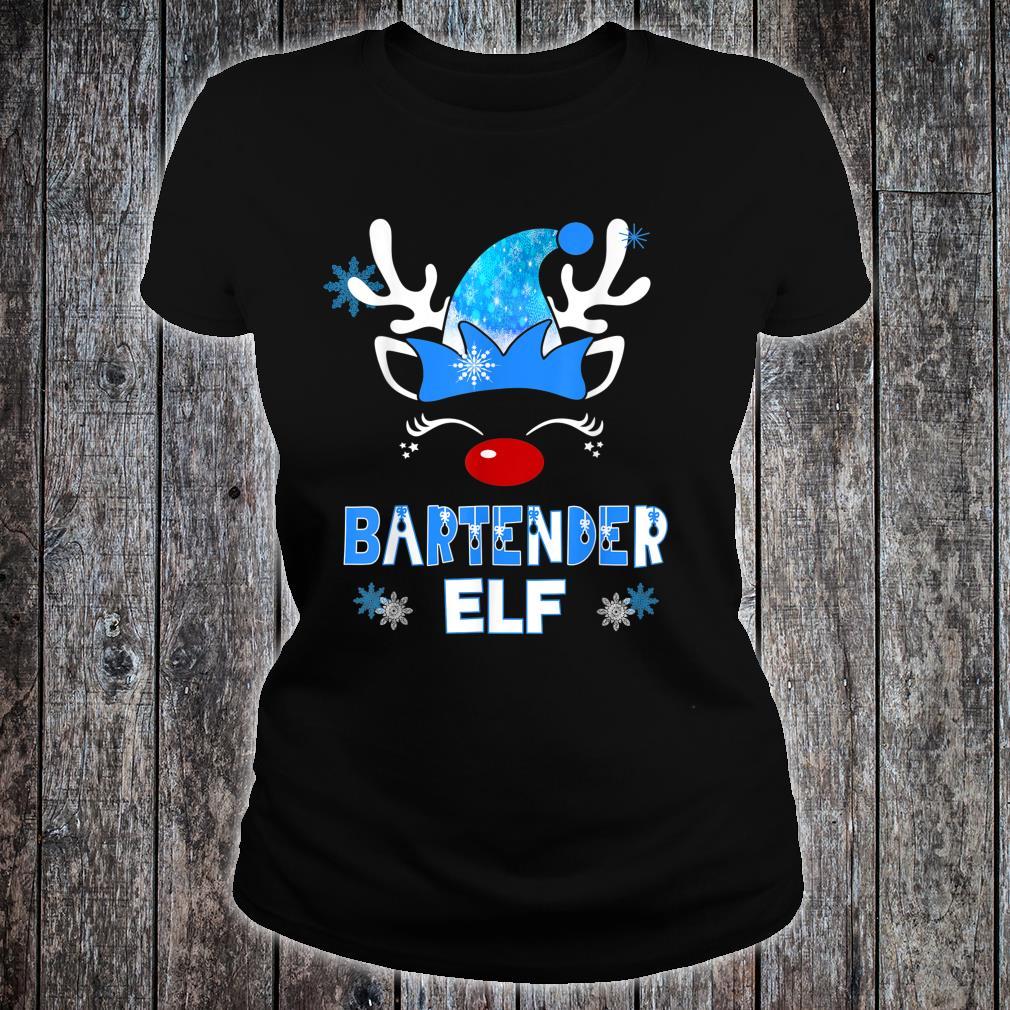 Christmas Elf Bartender Costume Holiday Blue Reindeer XMas Shirt ladies tee