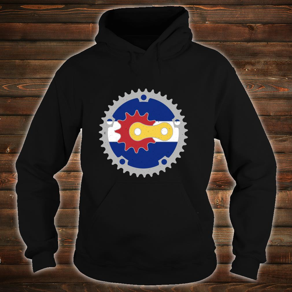 Colorado Bicycle Gears State Flag Colors Mountain Bike Rider Shirt hoodie