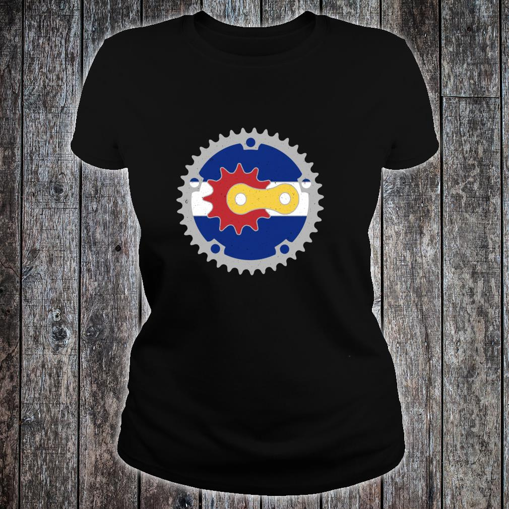 Colorado Bicycle Gears State Flag Colors Mountain Bike Rider Shirt ladies tee