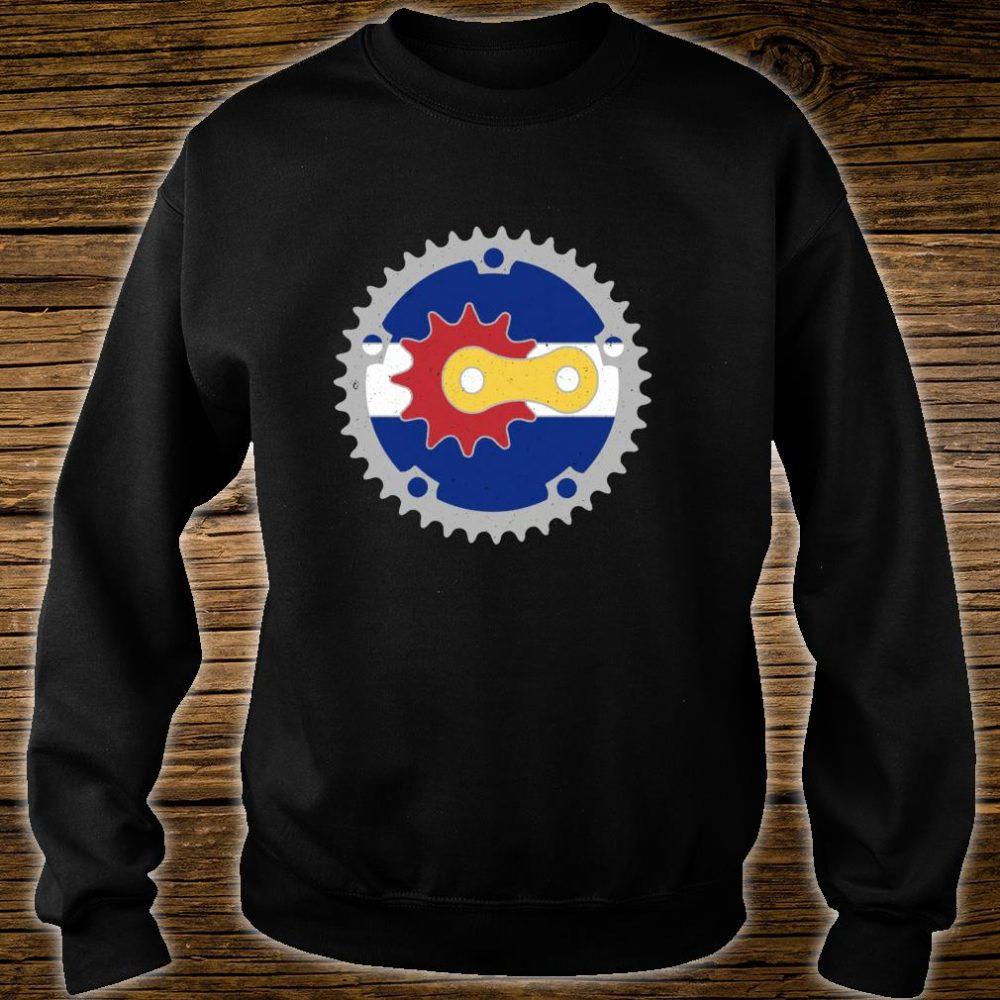 Colorado Bicycle Gears State Flag Colors Mountain Bike Rider Shirt sweater
