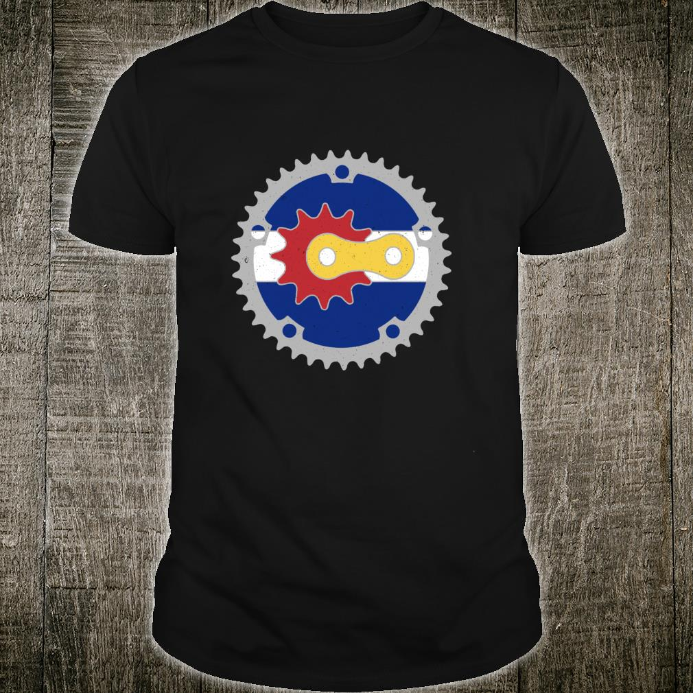 Colorado Bicycle Gears State Flag Colors Mountain Bike Rider Shirt