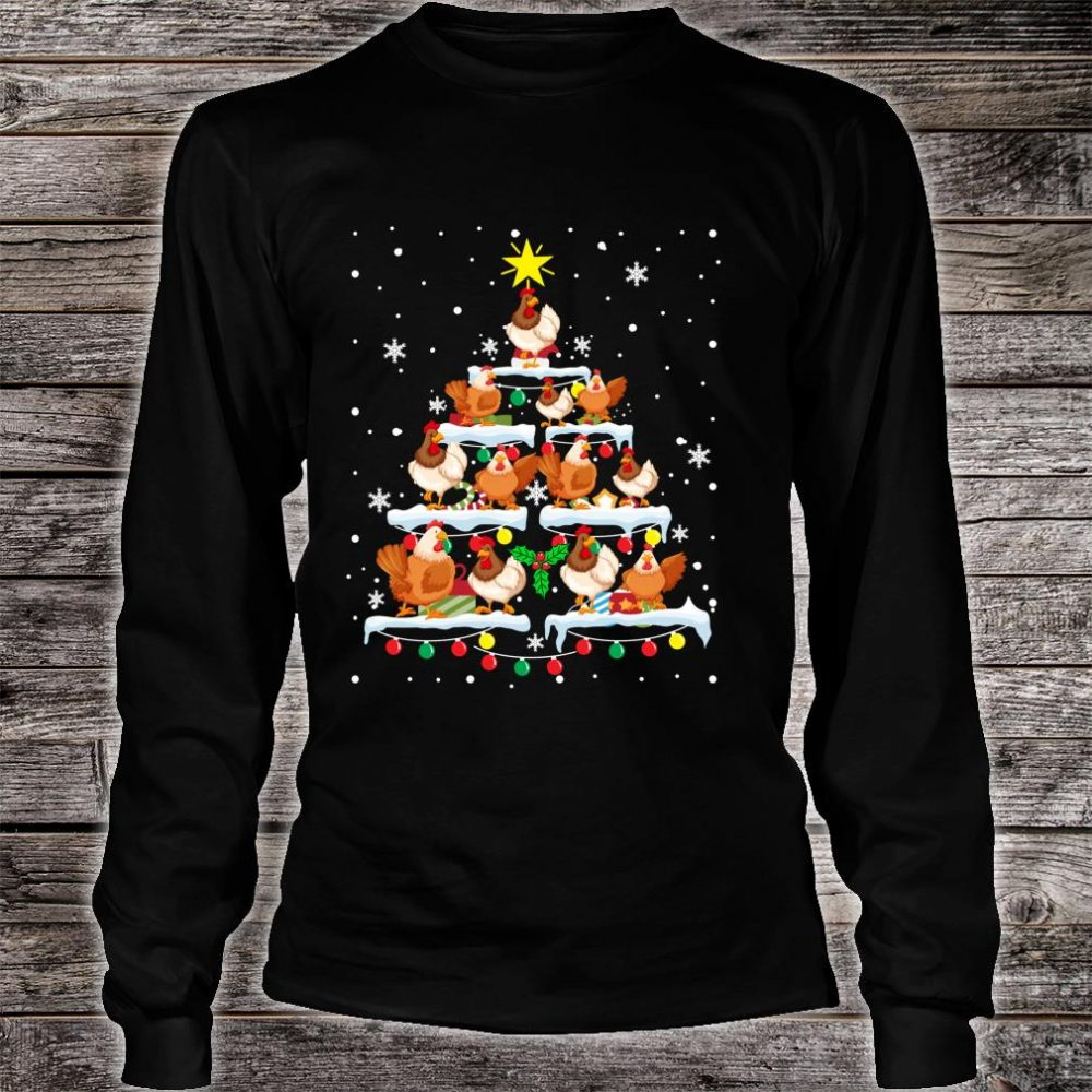 Cool Chickens Christmas Tree Star Ornament Shirt long sleeved