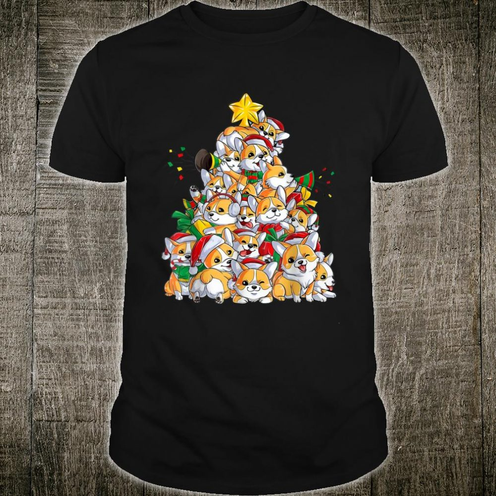 Funny Corgi Dog Christmas Tree Xmas Santa Claus Hat Shirt