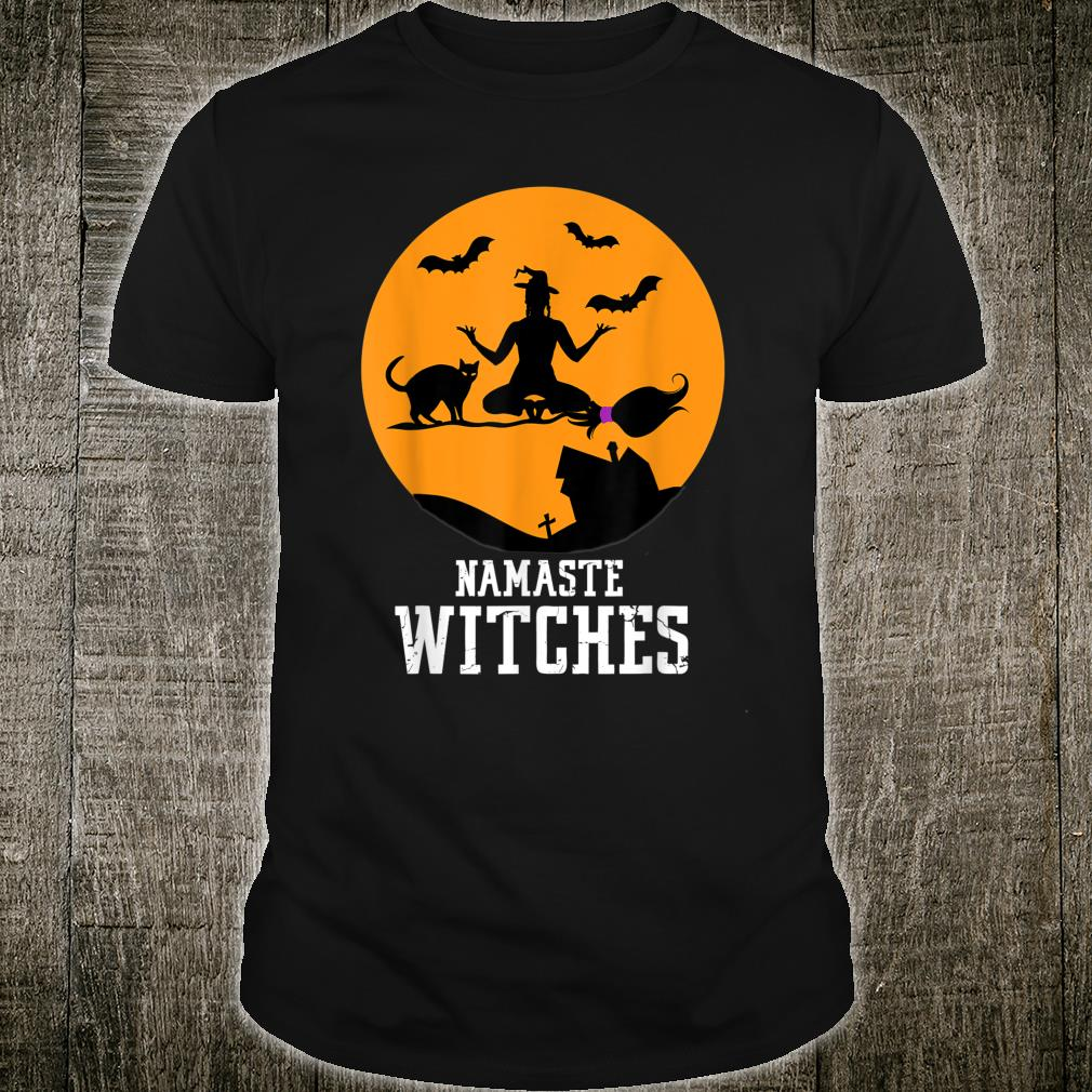 Halloween Namaste Witches Cat Yoga Shirt