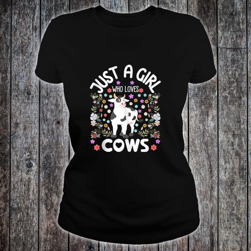 Just a Girl Who Loves Cows Cute Watercolor Boho Floral Shirt ladies tee