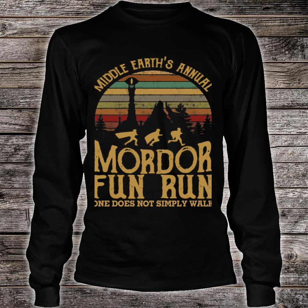 Middle earth's annual mordor fun run one does not simply walk shirt long sleeved