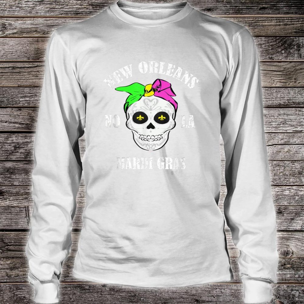 Retro Vintage Mardi Gras Skull Shirt long sleeved
