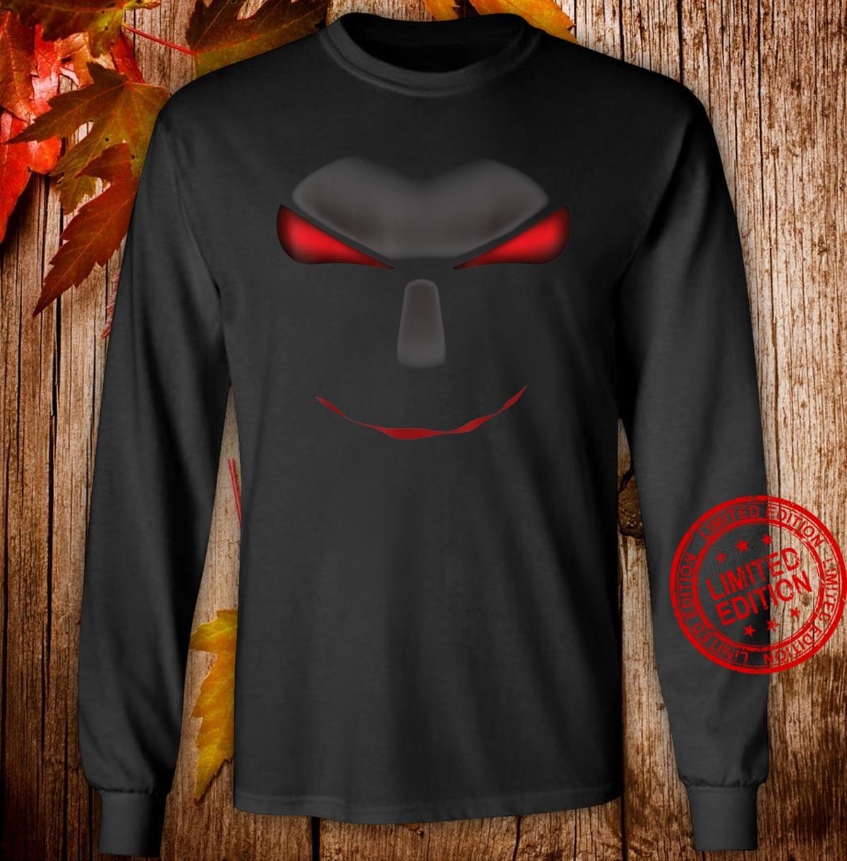 Scary Cool Halloween Mystery Face Monster Costume Shirt long sleeved